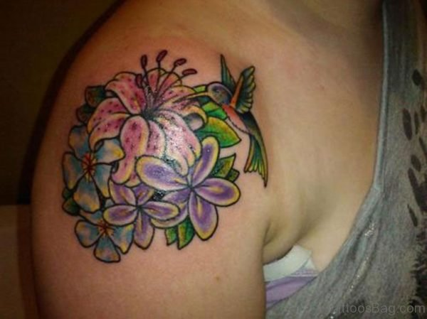 Flower With Hummingbird Tattoo