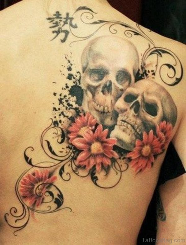 Flower With Skull Tattoo