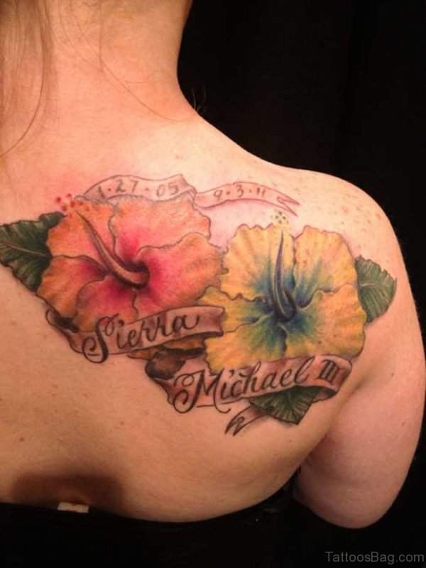 Flowers And Banner Tattoo