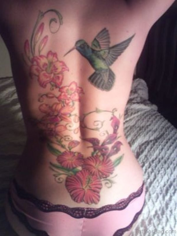 Flowers And Bird Tattoo Design On Back