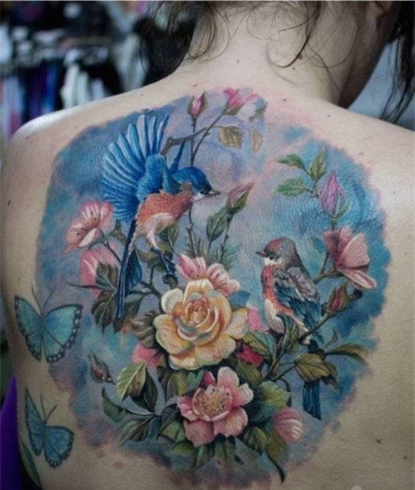 Flowers And Butterflies On Back