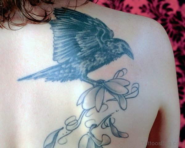 Flowers And Crow Tattoo
