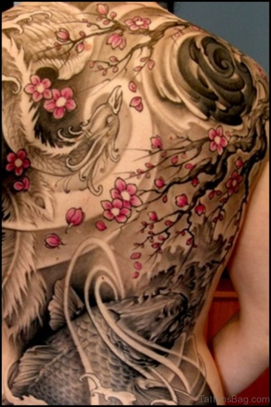 Flowers And Fish Tattoo