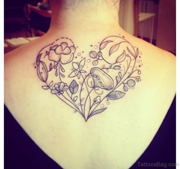 Flowers And Heart Tattoo
