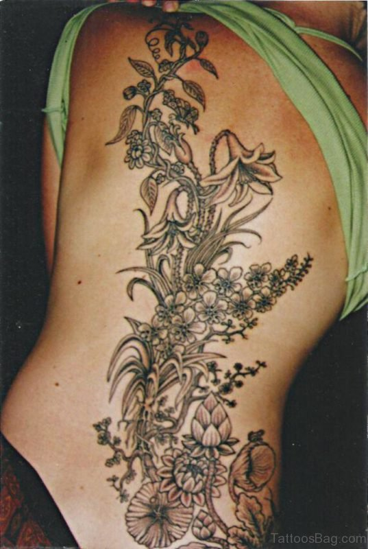 Flowers And Leaf Tattoo