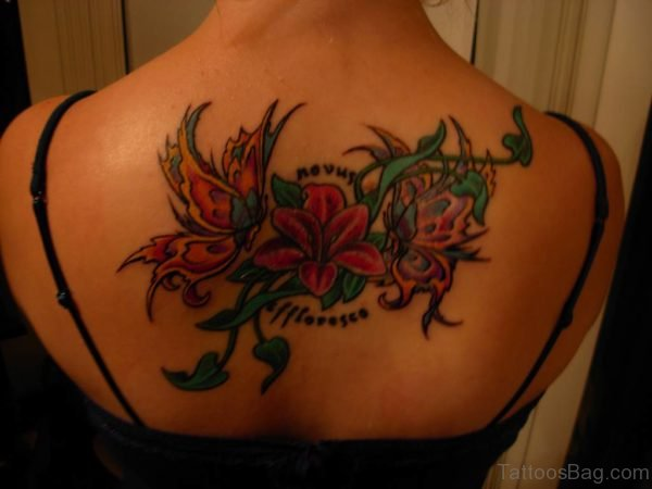 Flowers And Name Tattoo On Back