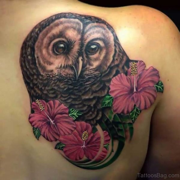 Flowers And Owl Tattoo On Back