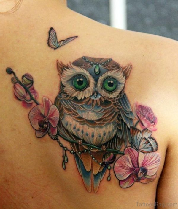 Flowers And Owl Tattoo