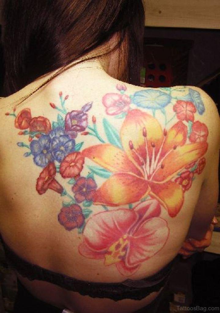 89 superb flowers tattoos on back for Back tattoo flower designs