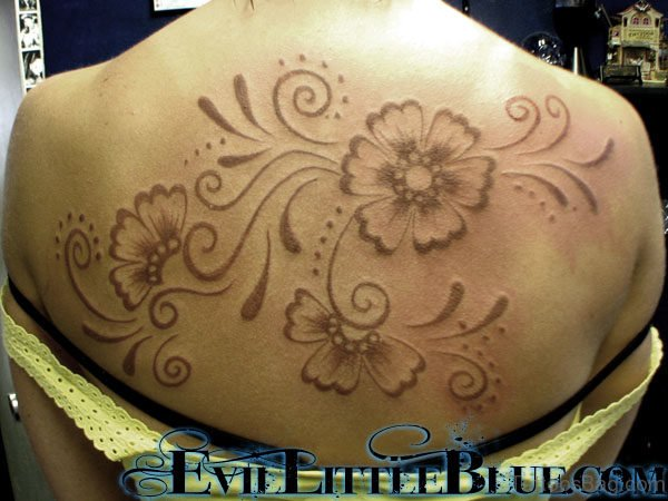 Flowers Tattoo On Back