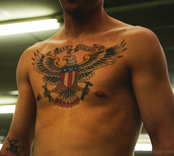 Flying American Eagle Tattoo On Chest