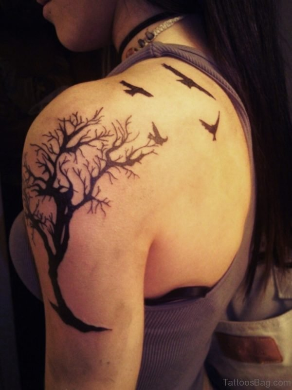 Flying Birds Tattoo On Back