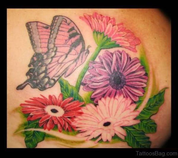 Flying Butterfly And Daisy Flower Tattoo