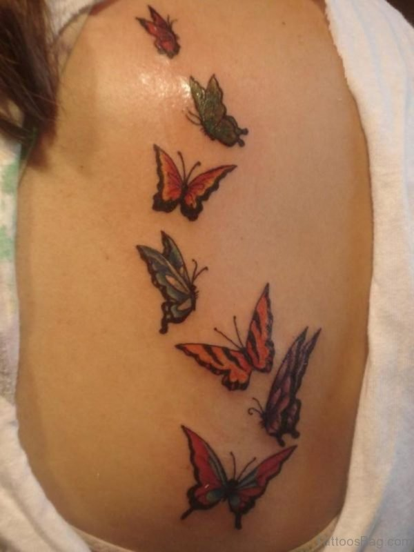 Flying Butterfly Tattoo Design