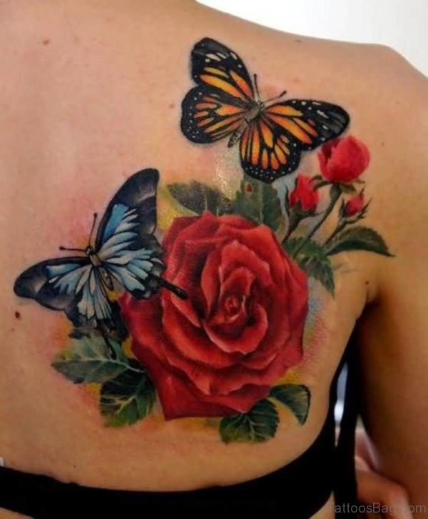 Flying ButterflyAnd  Red Rose Flower Tattoo