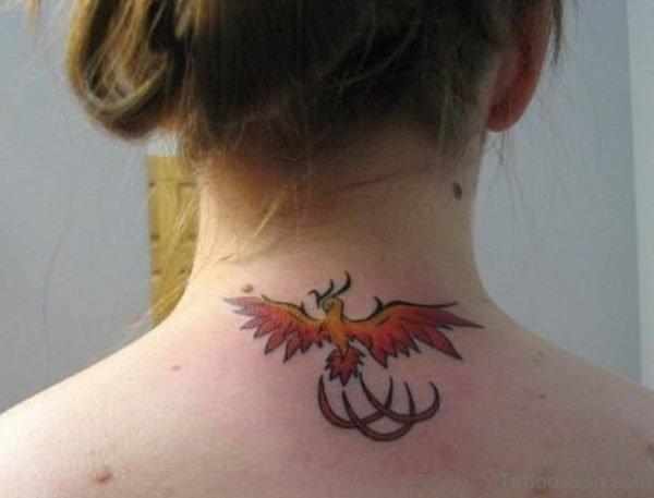 Flying Dragon Tattoo On Neck