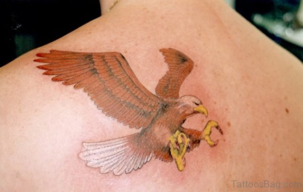 Flying Eagle Tattoo Design On Back