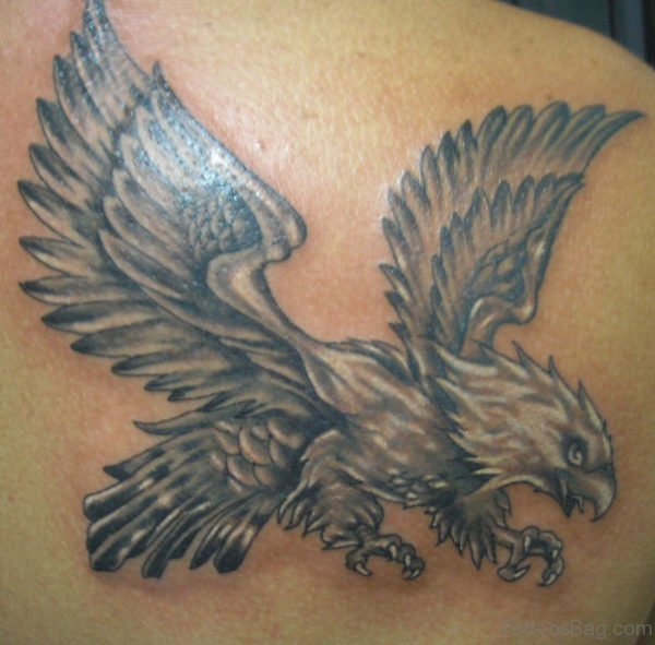 Flying Eagle Tattoo On Back