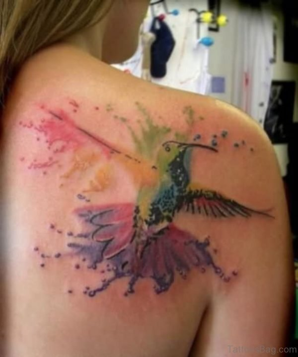 Flying Hummingbird Tattoo On Back