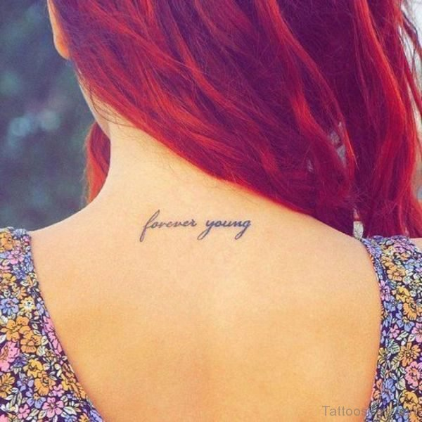 Forever Young Tattoo On Neck