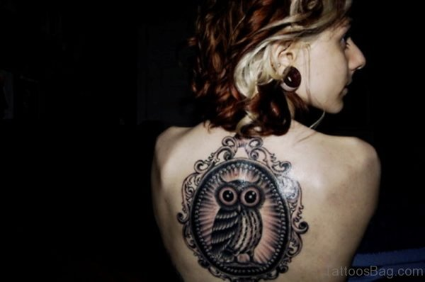 Framed Owl Back Tattoo