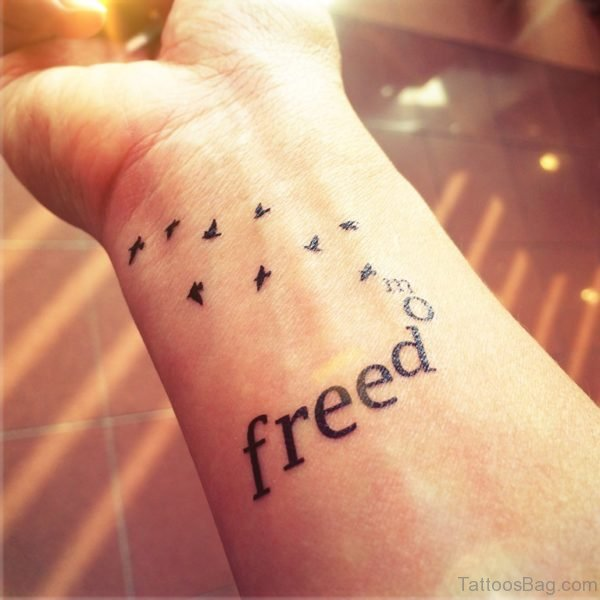 Freedom With Flying Birds Tattoo