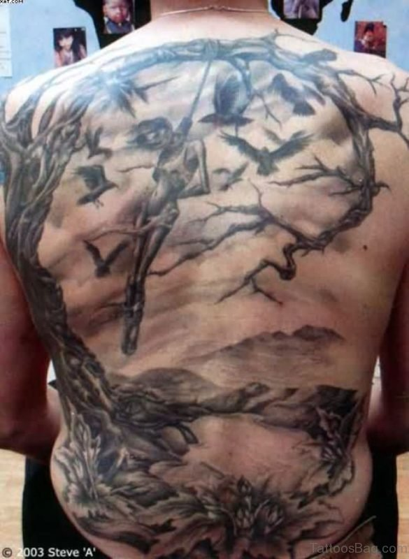 Full Back Horror Tattoo