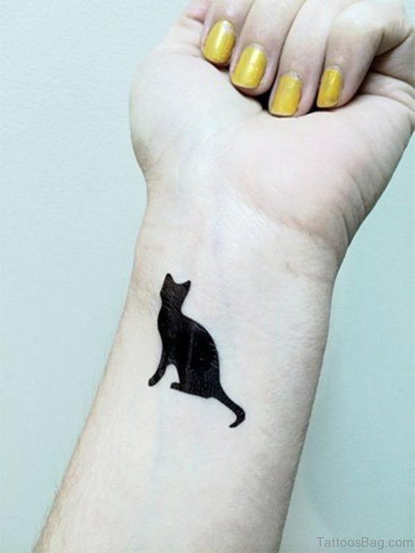 Full Black  Cat Tattoo On Wrist