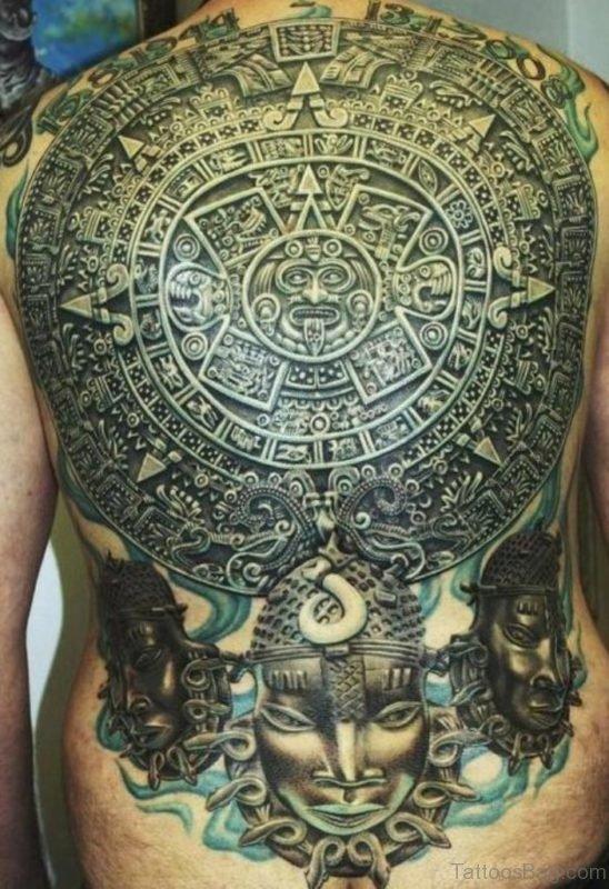 Funky Aztec Tattoo On Back