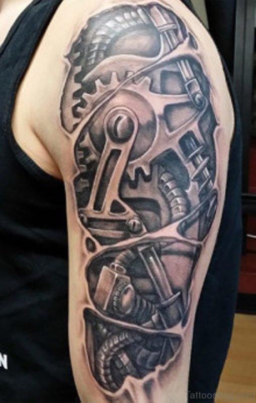 Funky Bio Mechanical Tattoo Design
