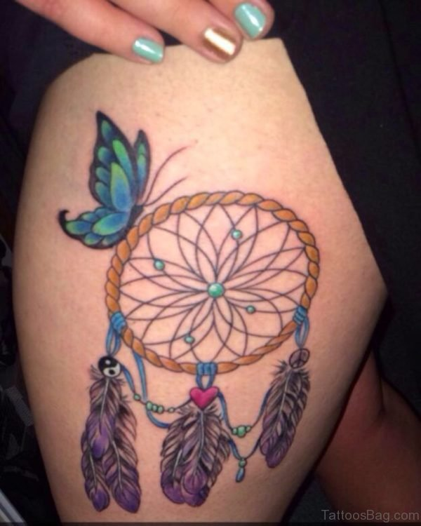 Funky Dreamcatcher Tattoo Design For Thigh