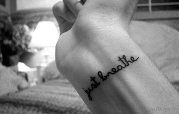 Funky Just Breathe Word Tattoo