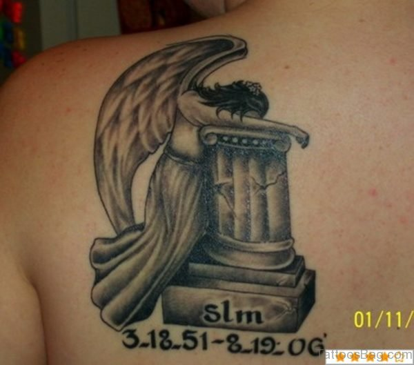 Funky Memorial Angel Tattoo On Back