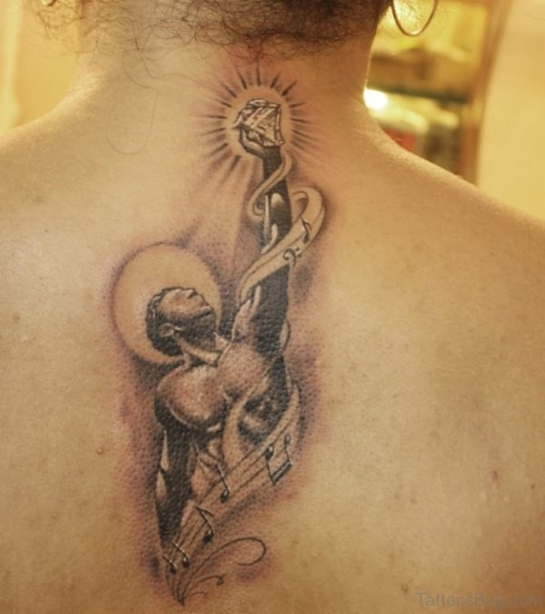 Funky Memorial Angel Tattoo