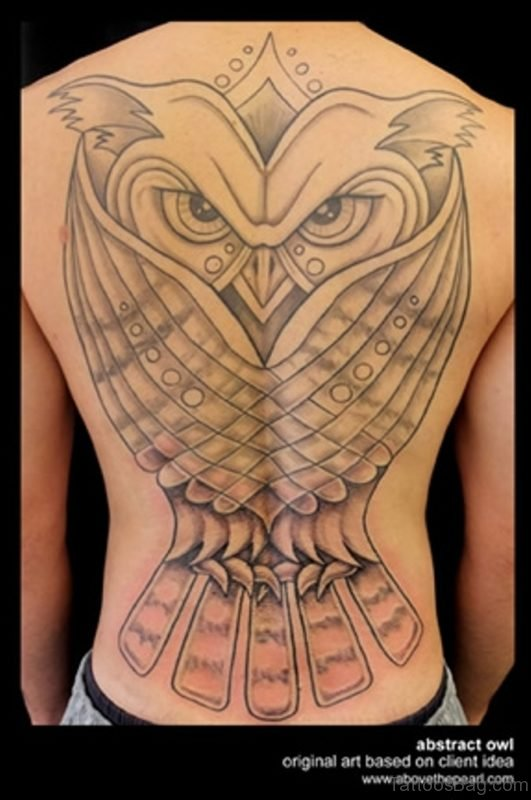 Funky Owl Tattoo On Back
