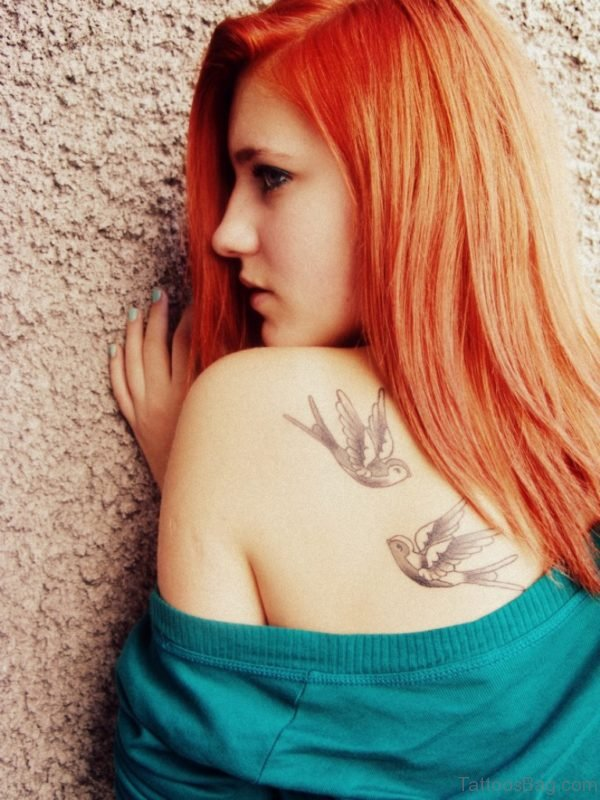 Funky Swallow Tattoo Design