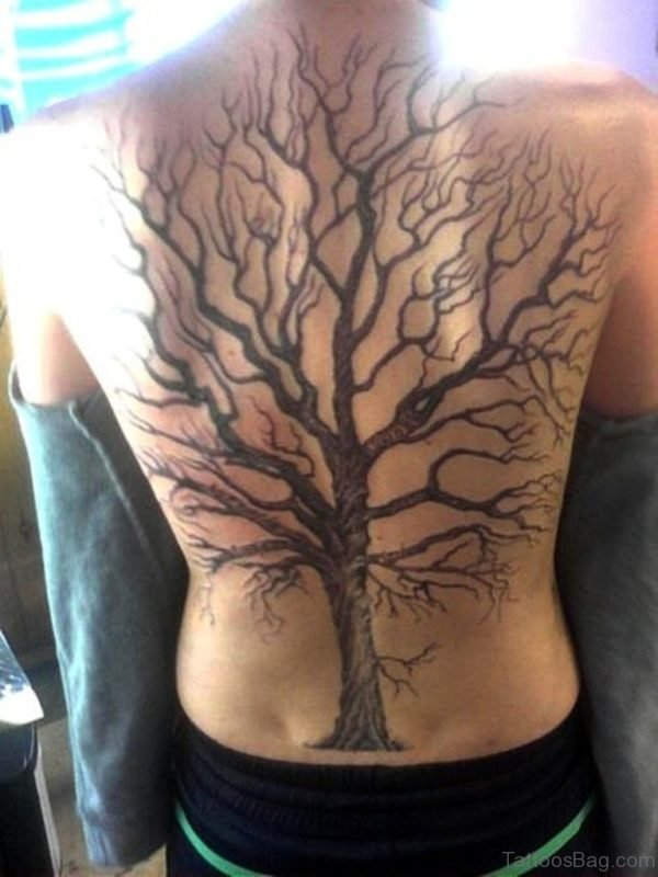 Funky Tree Tattoo On Back