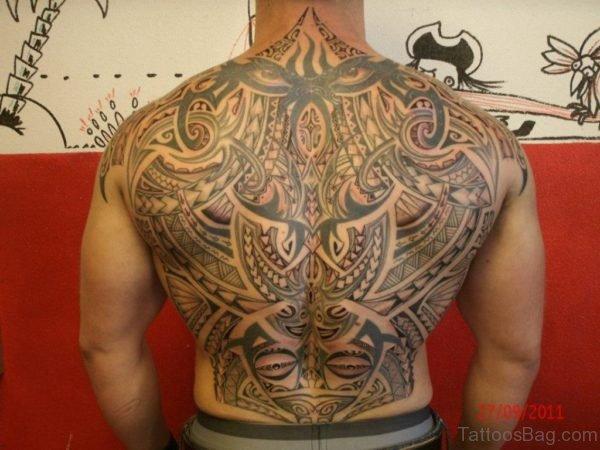 Funky Tribal Tattoo On Full Back
