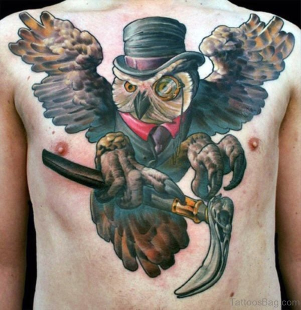 Funny Owl Tattoo on Chest