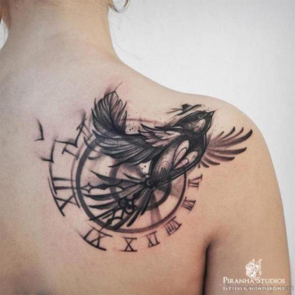 Graceful Bird And Clock Tattoo