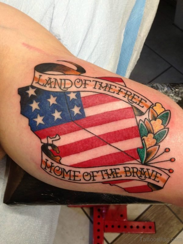 Graceful American Flag Tattoo On Bicep