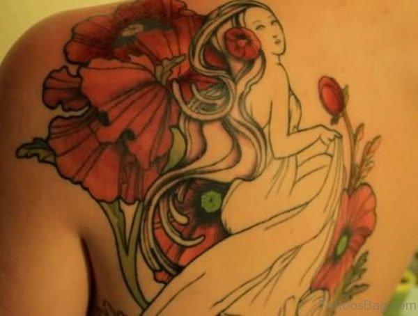 Geisha Girl And Poppy Tattoo