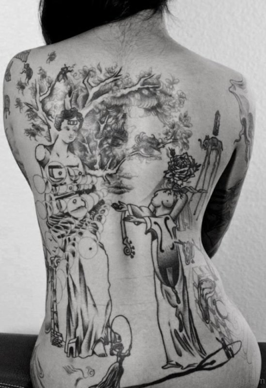 Geisha Girl And Tree Tattoo