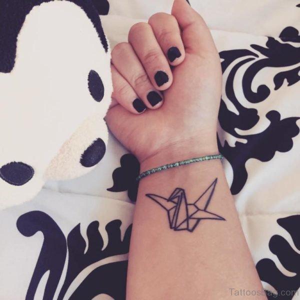 Geometric Bird Tattoo On Wrist