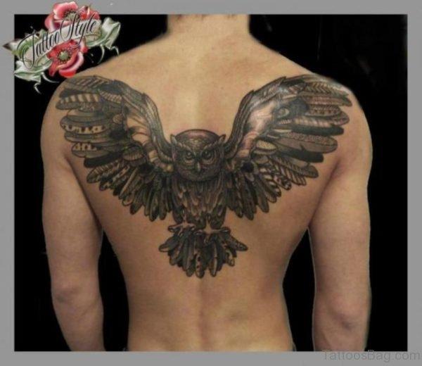 Geometric Eagle Tattoo On Back