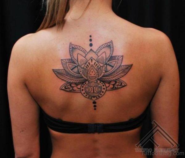 Geometric Lotus Tattoo On Back