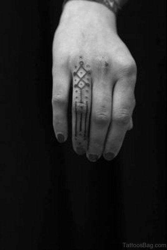 Geometric Tattoo Design On Finger
