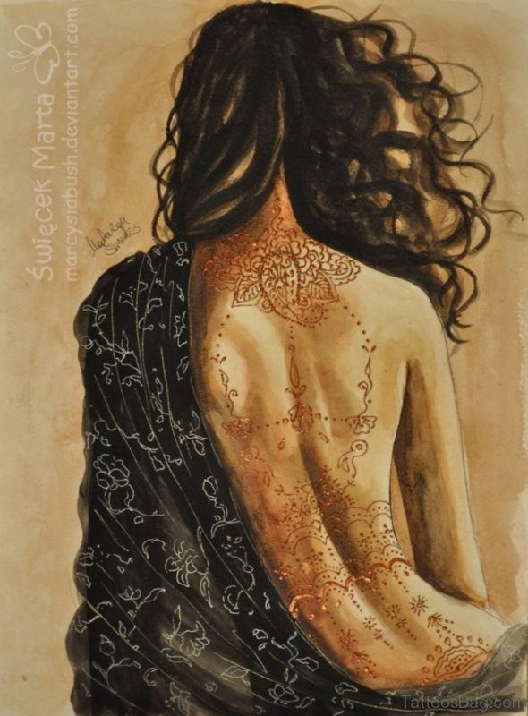 Geometric Tattoo Design On Full Back