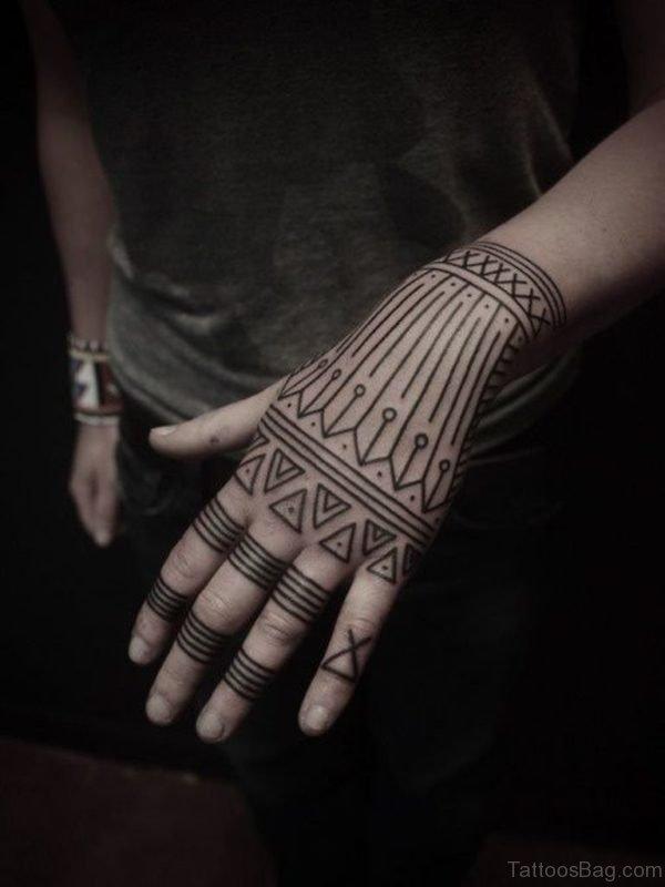 Geometric Tattoo On Finger