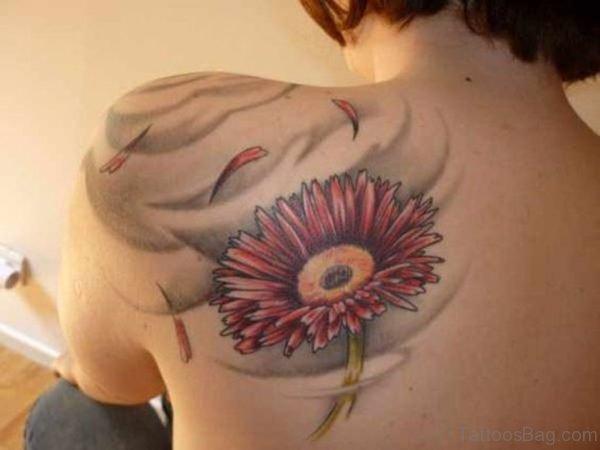 Gerbera Daisy Tattoo On Left Back
